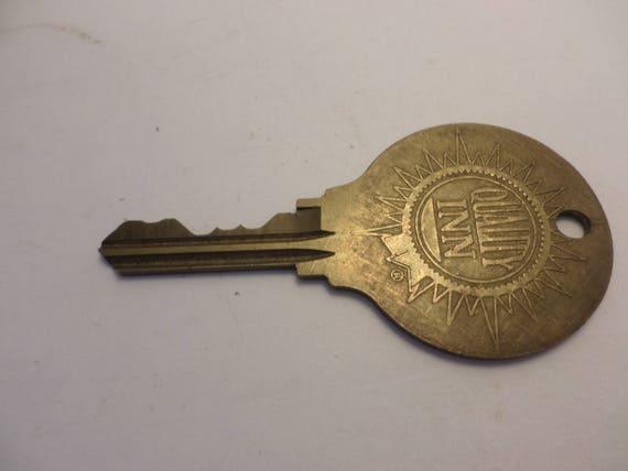 Vintage Quality Inn Hotel Key brass #183 hole to hang