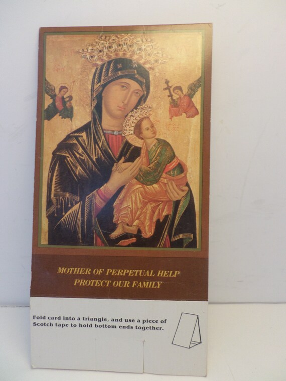 Vintage Mother Of Perpetual Help protect our family card stand up