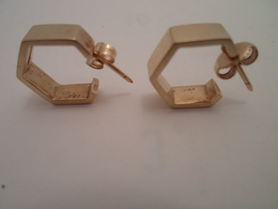 Vintage 14K Gold Earrings Hexagon Hoops Pierced Ears Solid