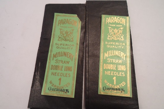 Antique Paragon German Sewing Millinery Needles org. Victorian Package Straw hat Sewing collectables Cottage chic 2 Packs