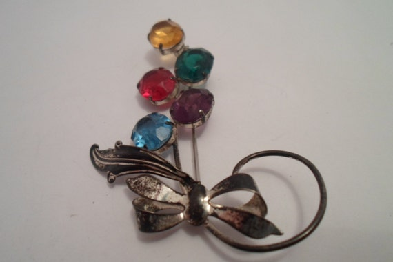 Art Deco stone Sterling silver brooch vintage Art Deco Original Patina Pin Large Faceted Glass Stones vibrant colors