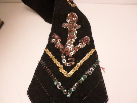 Vintage DECO felt tie embellished with sequins in RWB unfinished