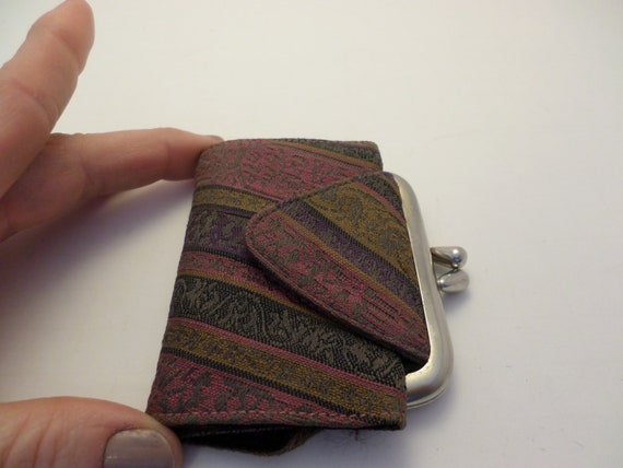 Vintage Bond Street Original 60's mini wallet cloth purple ribbon USA