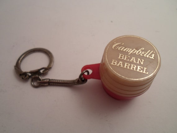 Vintage Campbell's Bean Barrell Advertising Coin Holder Key Chain 1950's Cool