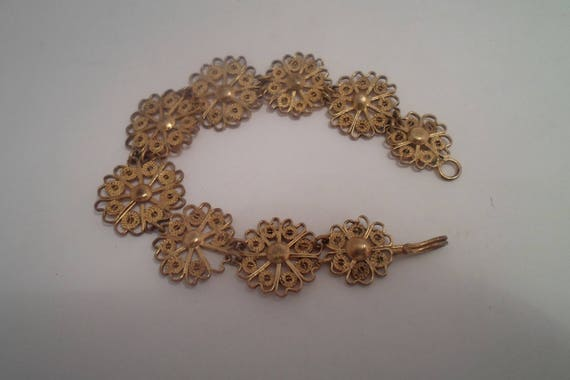 "Vintage Open Lace Gold on Silver Bracelet Chain Daisies Pin Wheels 6.20""long Dainty Small Handmade Middle East"