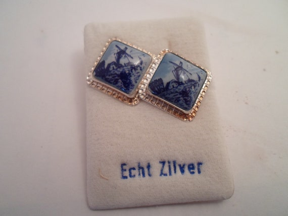 Vintage Made in Holland Delft Sterling Post Earrings on Original card Beautiful Blue Windmill New Old Stock