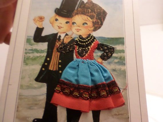 Vintage Danish greeting cards 5 Danish costumes Applied fabric  Bornholm, Aero, Fyn,Romo, Ebeltoft,