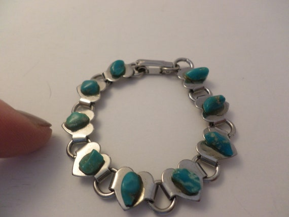 Vintage 70's childs roadside souvenir bracelet. turquoise on stainless hearts CUTE!