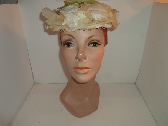 Mid Century Net and Magnolia Floral Pill Box Green Leaves  Hat Replacement Head Covering