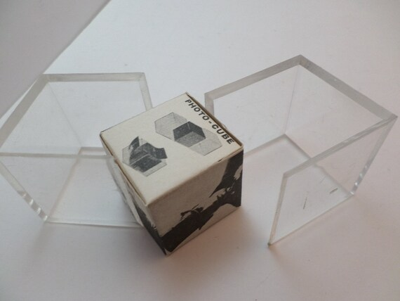"""Vintage 70's photo cube never used 6 picture 1.5"""" cool desk accessory"""