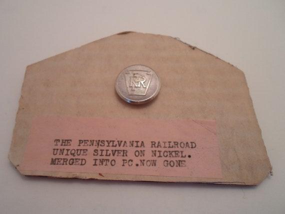 Antique Pennsylvania Railroad Unique Silver or Nickel Button All original