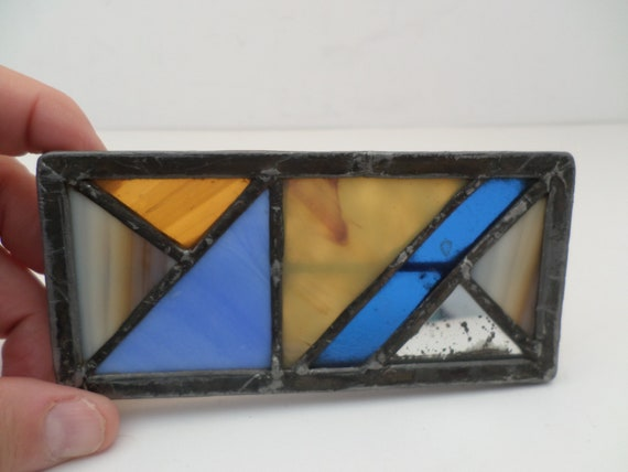 Fantastic vintage stained glass belt buckle Art Deco Mission style