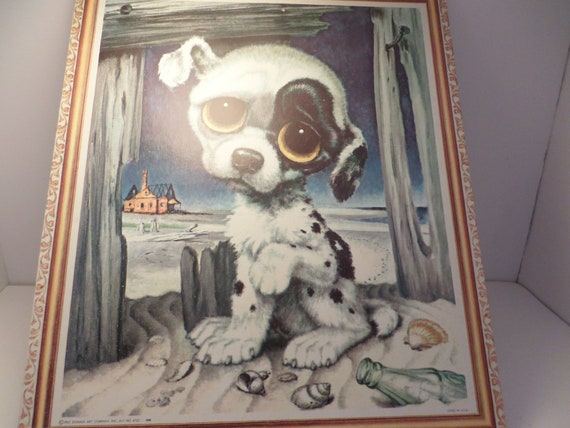 Vintage '65 Donald Art Co inc sad eyed puppy at the beach black and white spotted dog picture