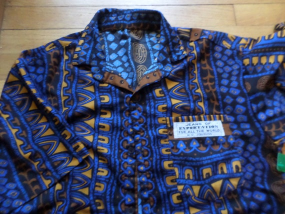 Vintage 90's tribal urban button down Jeans of exportation for all the world size L royal blue brown gold