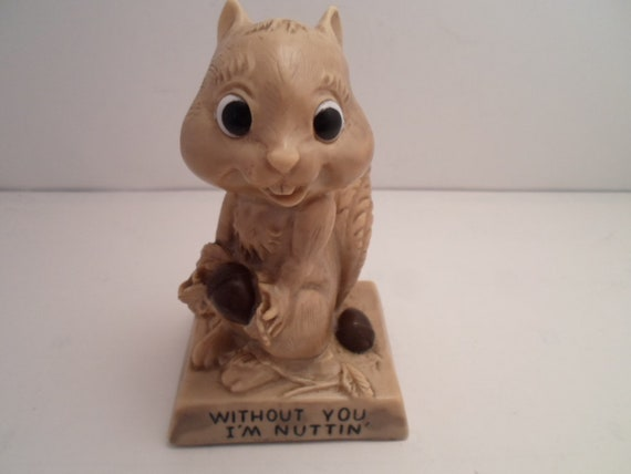 Vintage 1970's Squirrel Figure Without You I'Nuttin Adorable Wallace Berries Figure Lovers Friends Office Desk Trophy Kitsch