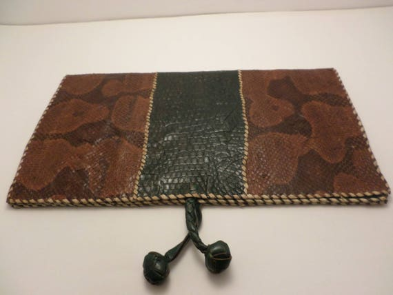 Vintage snake skin and alligator flat clutch billfold paper keeper purse Map keeper