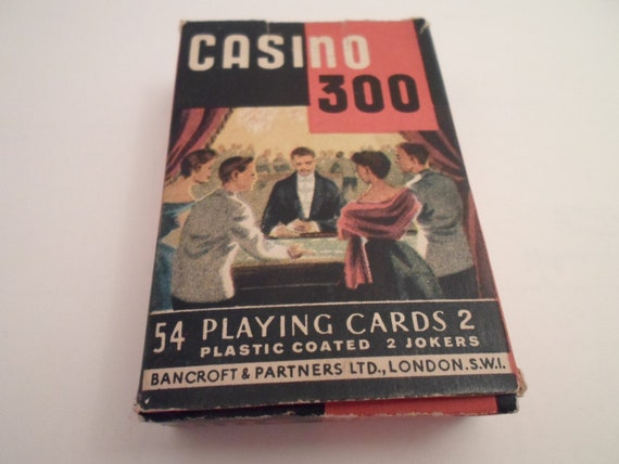 Art Deco  Casino 300 playing Cards Bancroft and Partners Ltd. London Complete 54 cards with Instructions Nice Artist Sketch on front