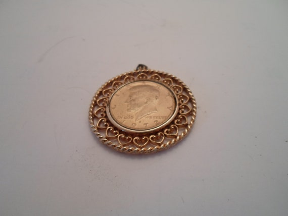 Vintage Coin Jewelry Pendant 1972 John F Kennedy Gold Plated Half Dollar in Pierced Coin Holder