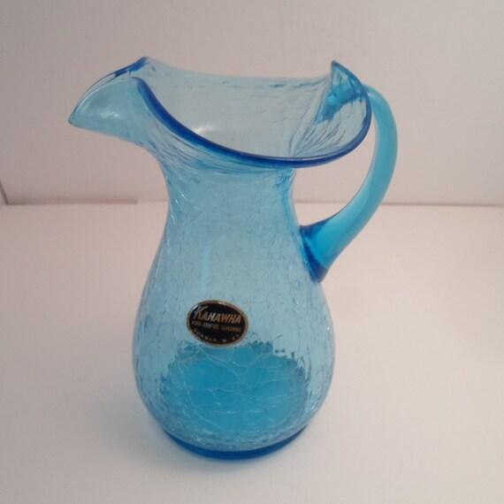 "Vintage Kanawha Crackle Glass Pitcher 6.5"" Beautiful Blue Applied Handle  West Virginia Art Glass"
