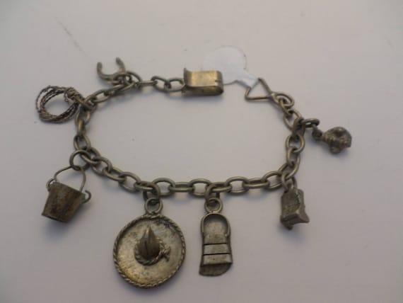 Vintage 50's Mexican sterling silver charm bracelet souvenir rope horseshoe sandal