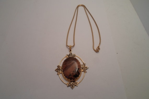 Vintage Oval Polished Agate Pendant and Snake Chain Organic Frame with Leaf Foilage Boho cool Nature Holiday Ready