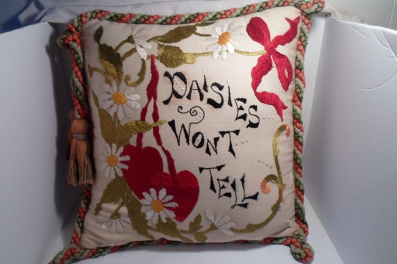 Vintage Embroidered Victorian Pillow with Talllses Ribbions Dasies Love Secret Cottage Chic