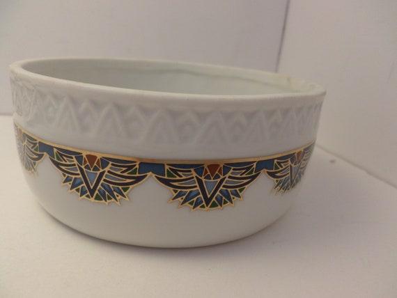 Fabulous Retro Deco vintage Egyptian style bowl Elizabeth Arden Treasures of the Pharoahs