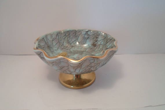 Mid Century Modern Handwork Delftware W B Leersum Made in Holland Fluted Veined Bowl on Pedestal Looks like Stangel