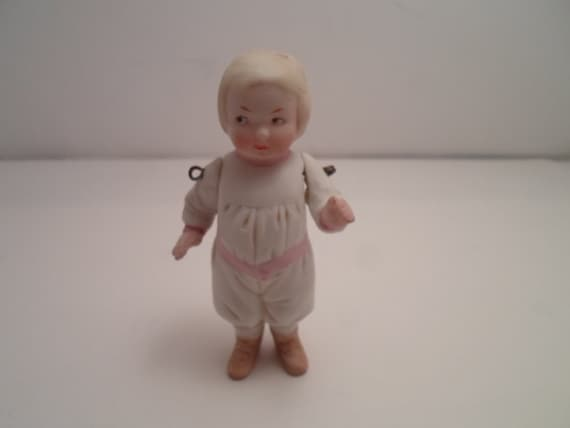 Antique All Bisque Baby Doll with Movable Arms Molded Clothing and Shoes Blonde Child Doll All Perfect Minature Baby