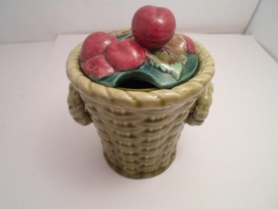 Vintage Ceramic Jam Jelly Jar Honey Sugar Pot Basket of Cherries Czechoslovakian Republic Coronet Trade mark