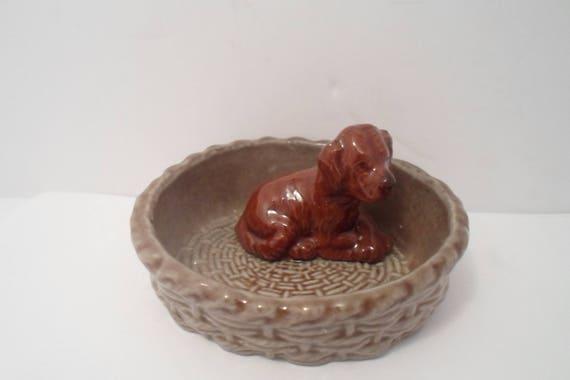 Wade England Pottey Dog Puppy Hound Spaniel in Basket