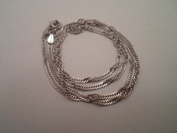 Vintage 1980's Sterling Silver Twisted Rope Chain Necklace Marked 925 Beautiful Style