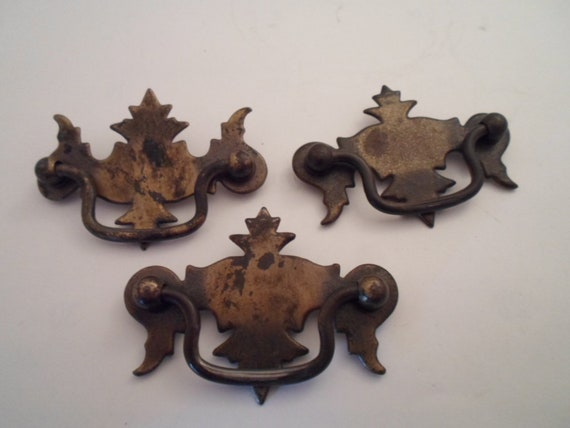 Vintage Chippendale Brass Drawer Pulls Quality Design All 3 for 1 price Re Decorate Chest Dresser Cottage