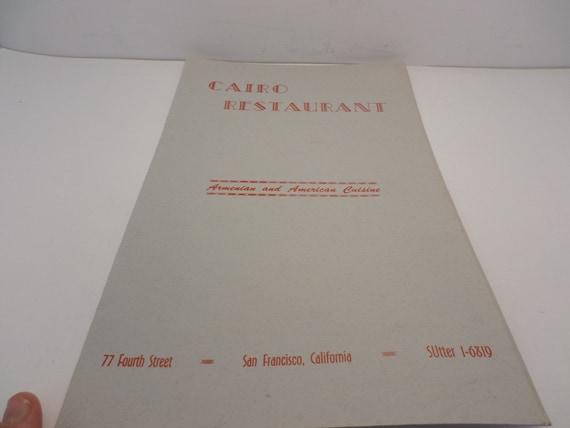 Vintage Cairo Restaurant San Francisco CA Menu Armenian American 1940's-50's Souvenir
