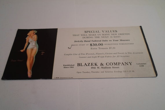 Vintage Earl Moran Advertising Ink Blotter Pin Up Girl Shape Ahoy  Blazek Co Columbus Desk Item Office Wall Art