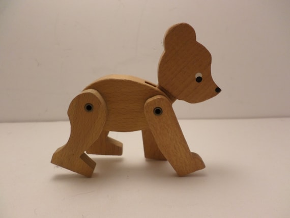 """Vintage 1970's 3"""" wood jointed bear"""