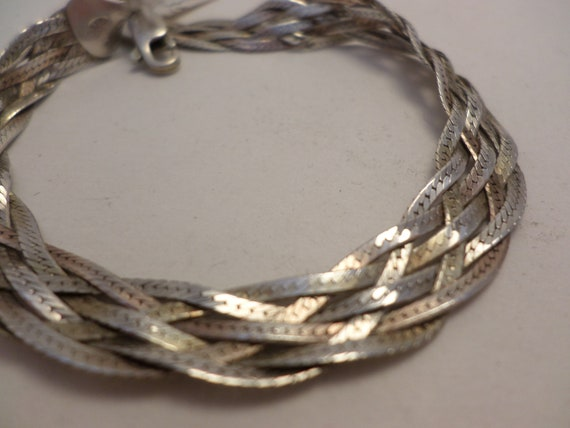Vintage 80' 6 rope braided bracelet sterling silver 925 Italy FAS