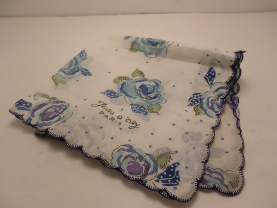 Vintage never used 50's starched linen hankerchief blue roses Paris