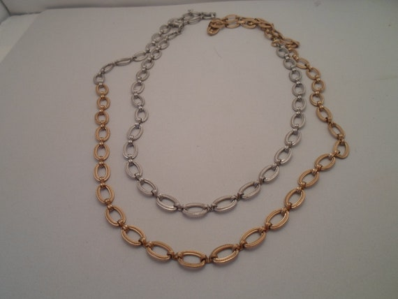 Vintage Silver and Gold Long Overlap 1960's Textured Link Necklace Very Versatile Design cool options