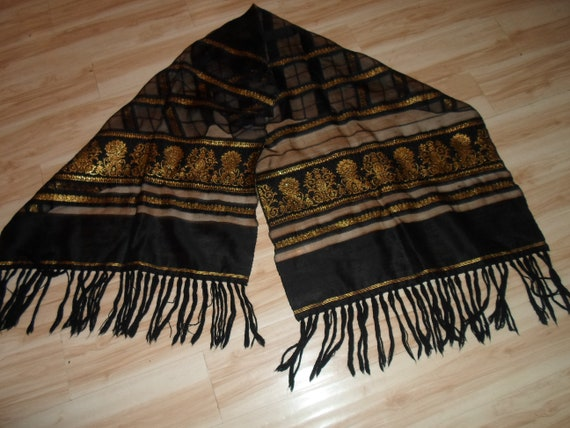 Vintage Black Silk Gold Metallic Shawl Wrap Large Scarf Yarn Knotted Fringe Ethnic Boho