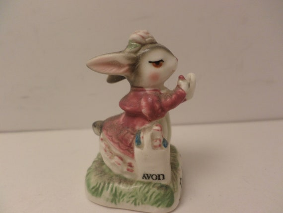"Vintage 80's AVON rabbit putting on lipstick 2"" figurine small treasures JAPAN"