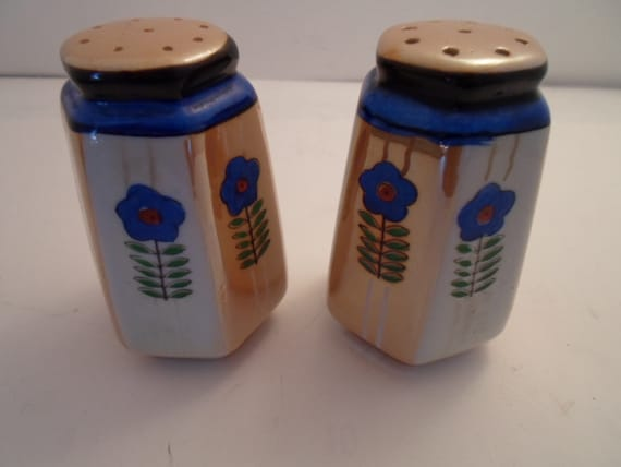 Antique Art Deco Japanese Luster Salt & Pepper Shakers Pristine  Condition Farm to City Table Ready marked