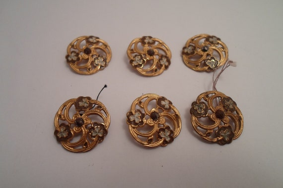 Antique Art Nouveau Buttons Open Work Brass Enameled Flowers and Marcasites Set of 6 Use or Re Purpose Fantastic Art in Buttons Chic Attire