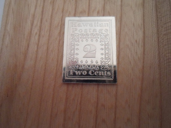 Vintage Sterling Silver Two Cent Hawaiian Postage Stamp Medal Pendant Bar