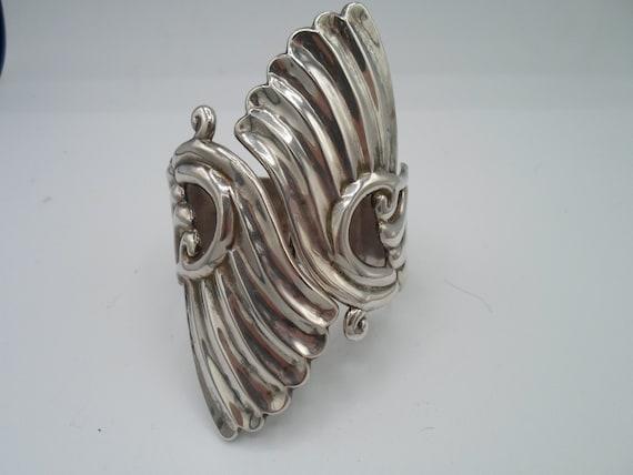 Vintage AV Villasana Cuff Clamper Bracelet Sterling Silver Gorgeous