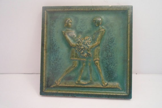 "Antique Mission Arts and Crafts Green Figural Tile Man and Woman Holding Flowers Wedding Love Couple 6""Square"