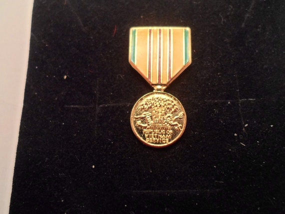 "Vintage Vietnam War Brass Hat or Lapel Medal  1""long Mini Award Medal collect or re purpose"