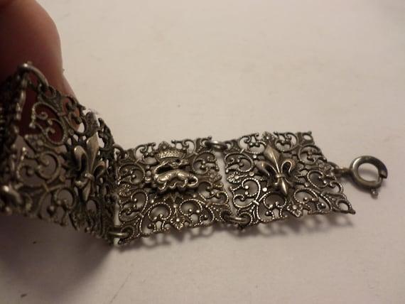 WOW vintage bracelet silver with fleur-de-lis, mythical or royal creatures UNIQUE rare