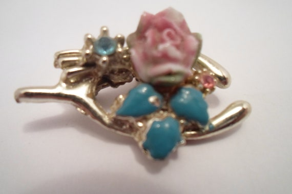 Vintage Antique Lucky  Wishbone Rose Enamel Pin Brooch Gold plated Delicate gemstones Hand Painted