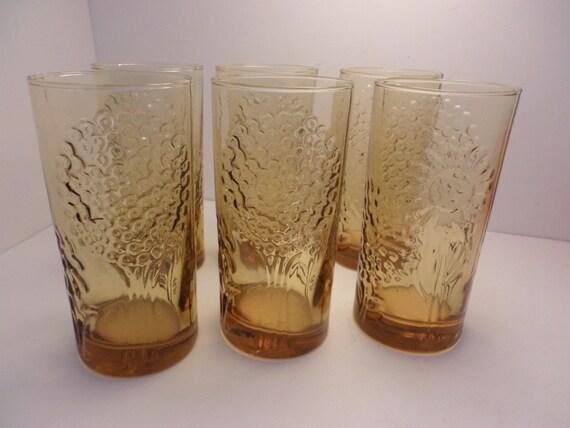 Iittala Finland glasses Toikka Flora set of 8 golden floral glasses vintage 60's